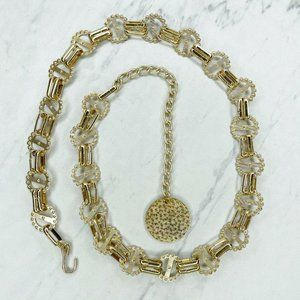 Gold Tone Studded Scalloped Concho Chain Belt